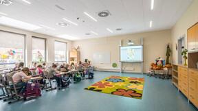 Complex of primary school and kindergarten,Poland,Wysoka,1.0000 m²,Monika Robaszko-Kowalska,Biuro Achitektoniczne Metropolis,Bartosz Makowski,ROCKFON Sonar,1200x600,white